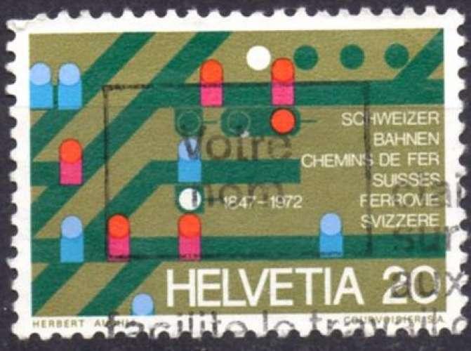8320N - Y&T n° 896 - oblitéré - 125 ans des chemins de fer suises - 1972 - Suisse