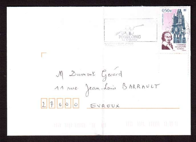 France 2004 Y&T  3712 (o) cathédrale de Luçon - Richelieu 0,50€  sur lettre