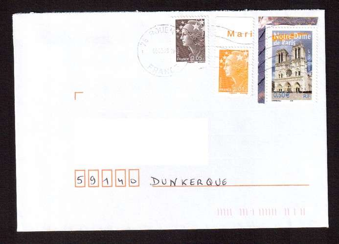 France 2004 Y&T  3705 (o) Notre Dame de Paris 0,50€ du bloc n° 77 La France à voir  sur lettre