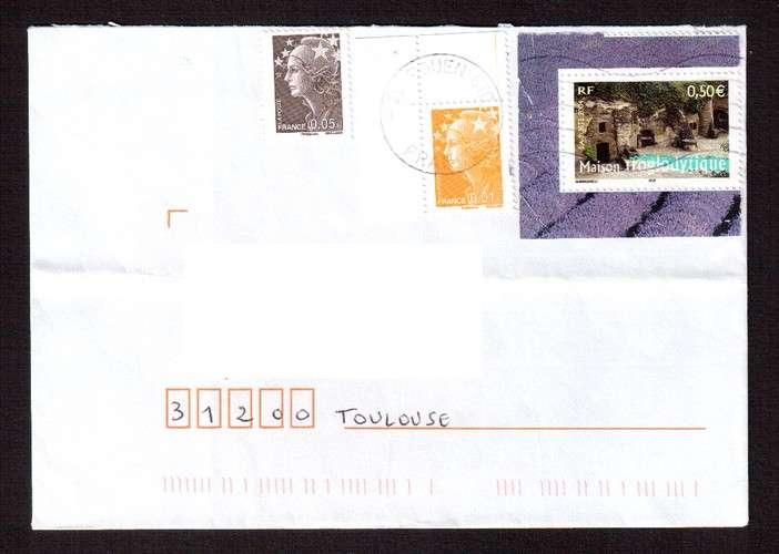 France 2004 Y&T  3707 (o) maison troglodytique 0,50€ du bloc n° 77 La France à voir  sur lettre