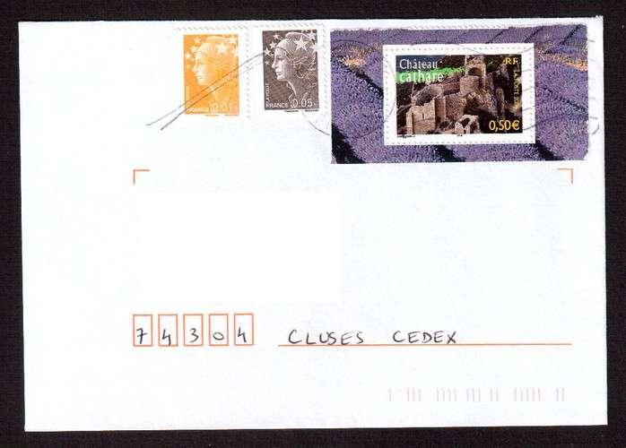France 2004 Y&T  3710 (o) châteaux cathares 0,50€ du bloc n° 77 La France à voir  sur lettre
