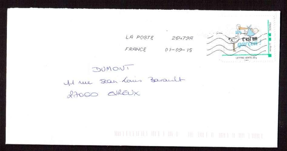 France 2015 Y&T  (o) montimbramoi naissance garçon sur lettre