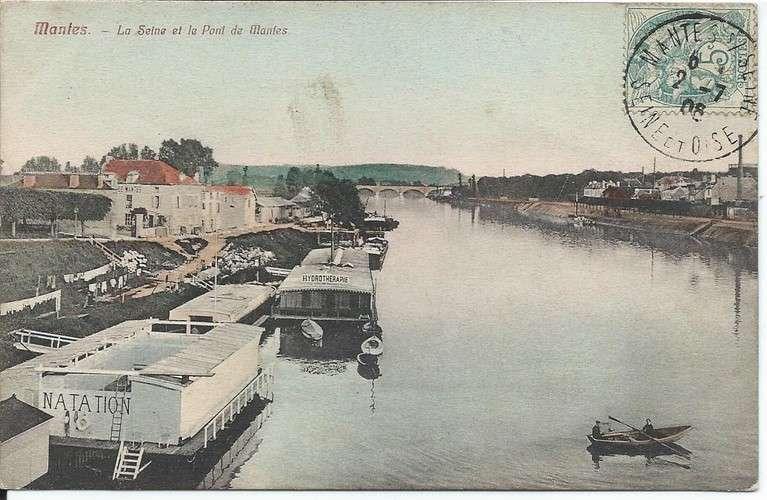 CPA - 78 - Mantes-la-Jolie - Natation et Hydrothérapie - 1906 - Colorisée - Dos scanné