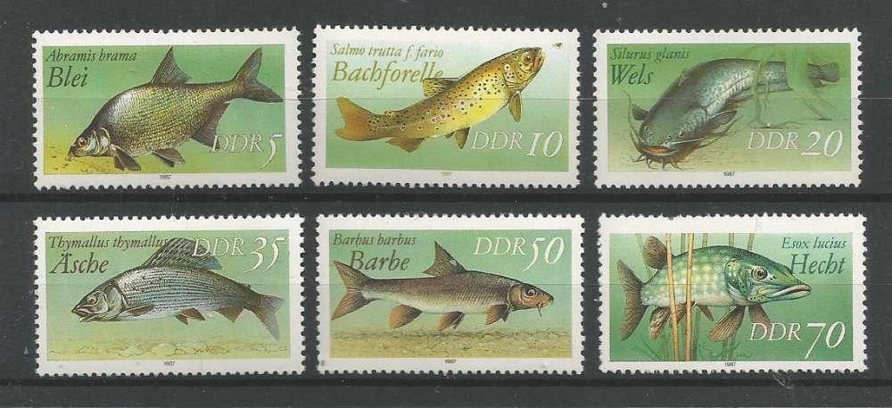 Allemagne Orientale - 1987 - Poissons d'Eau Douce - Tp n° 2715 / 20  - Neuf **