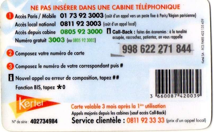 telecarte kertel maghreb 7,5 euro avec code barre (LOT AA14)