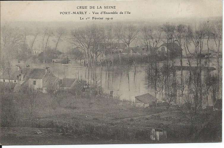 CPA - 78 - Port-Marly - Crue 1910 - Ensemble de l'Ile - Dos scanné