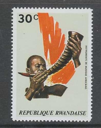 TIMBRE NEUF DU RWANDA - INSTRUMENTS DE MUSIQUE : TROMPE DU CAMEROUN N° Y&T 520