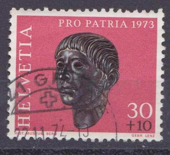 Suisse 1973 YT 927 Obl Pro Patria Archeologie Tete de gaulois