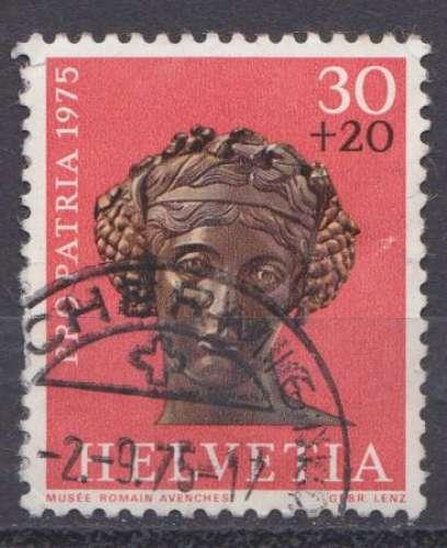 Suisse 1975 YT 984 Obl Pro Patria Archeologie Tete de Bacchus