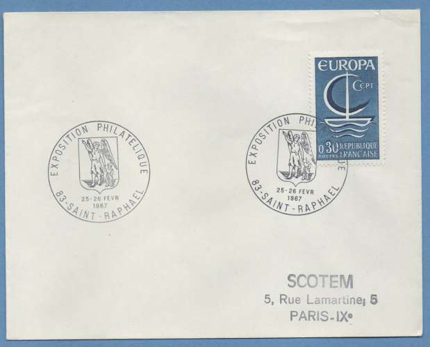 France BT Expo phil Saint Raphaël 1967  / N° 1490 Europa