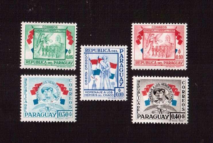 Paraguay 1957 Y&T 532 - 533 * et ? homenaje a sus heroes de Chaco 5 timbres