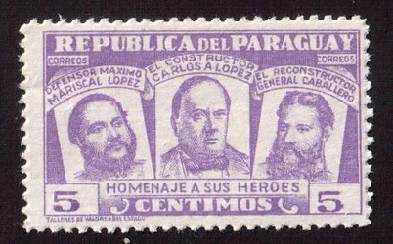 Paraguay 1954 Y&T 500 **  homenaje a sus heroes de Chaco 5  c