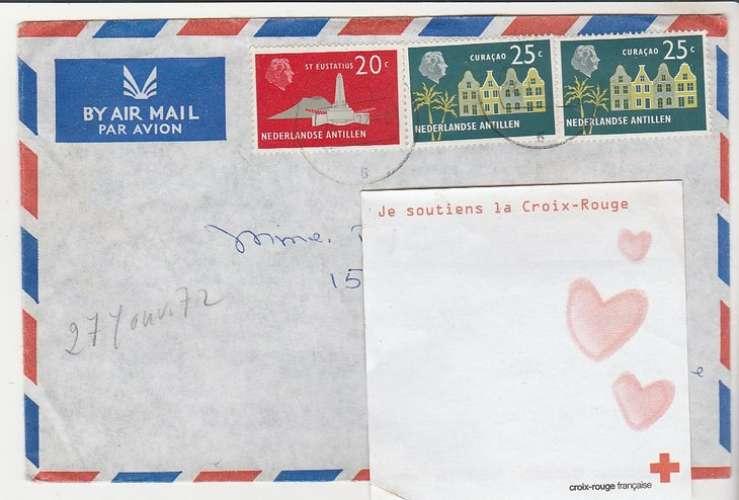 enveloppe  ( au dos Queen Elizabeth 2 ) Antilles Néerlandaises 1972