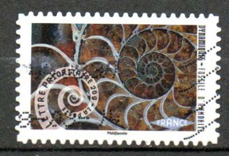 France Oblitéré Adhésif Yvert N°931 Fossile Ammonite 2014