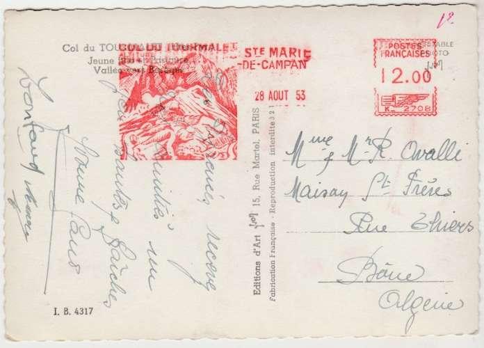 cpsm  65 Col du Tourmalet   EMA 28 août 1953 pour Algérie
