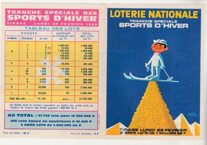 publicité 1968 Loterie Nationale Sports d'hiver par Hervé Morvan