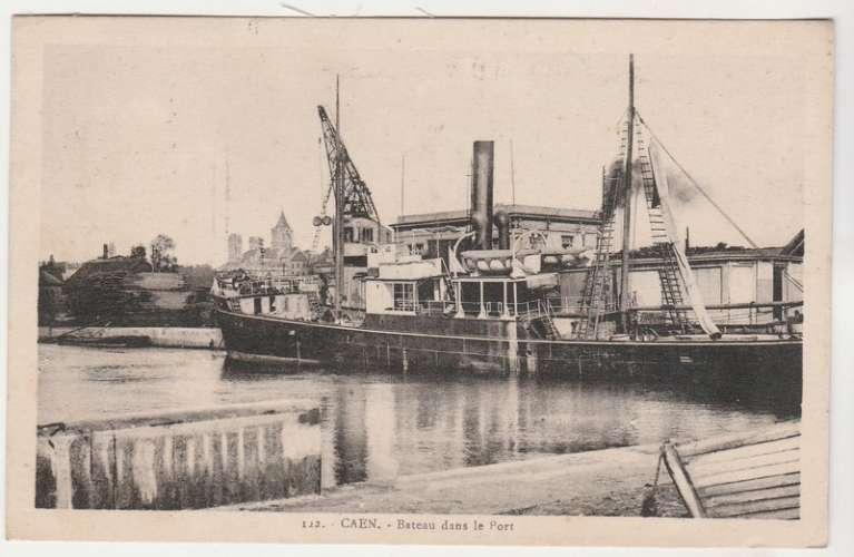 cpsm 14 Caen Bateau dans le Port