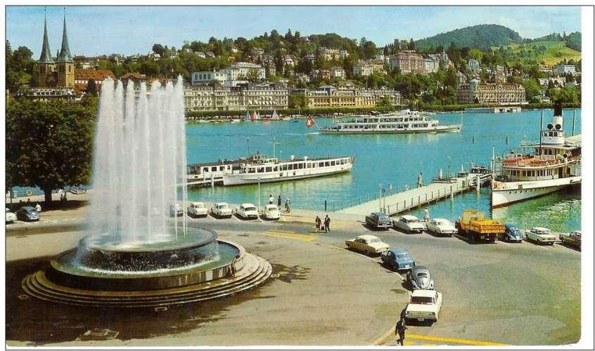 Cpsm Suisse - Luzern , wagenbachbrunnen und hofkirche - voitures anciennes , écrite et timbrée 1978