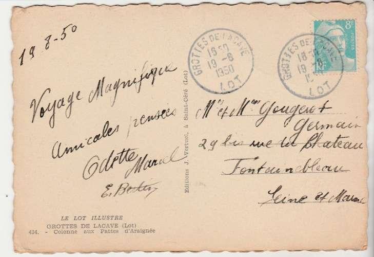 cpsm  46 Grottes de Lacave Cachet gérance gratuite 1950