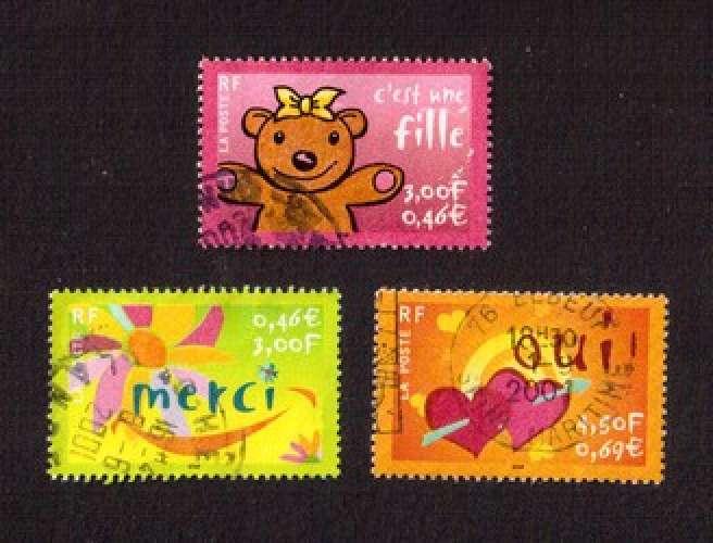 France 2001 Y&T 3378 - 3379 - 3380 (o)  c'est une fille - merci - oui