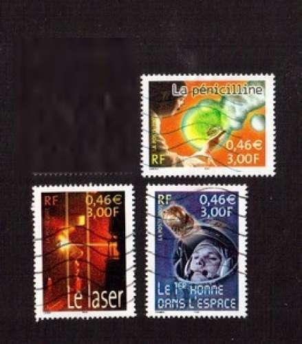 France 2001 Y&T 3422 - 3424 - 3425 (o)  le siècle au fil du timbre   IV   Sciences