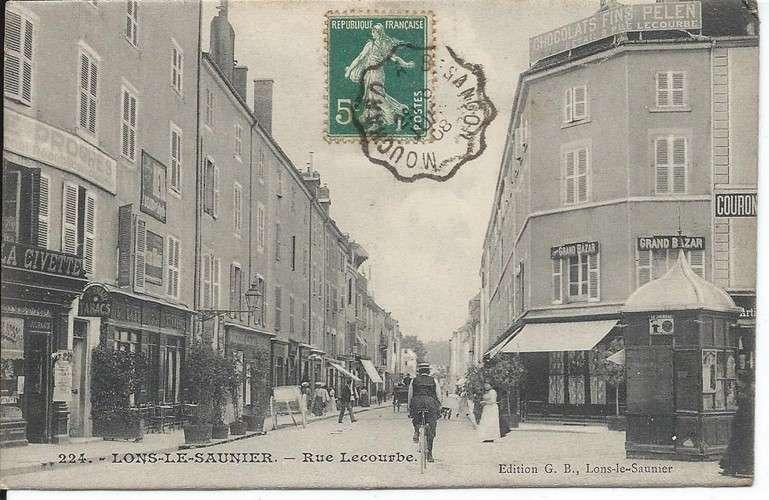 CPA - 39 - Lons-le-Saunier - Rue Lecourbe - Convoyeur Mouchard à Besançon - 1908 - Dos scanné