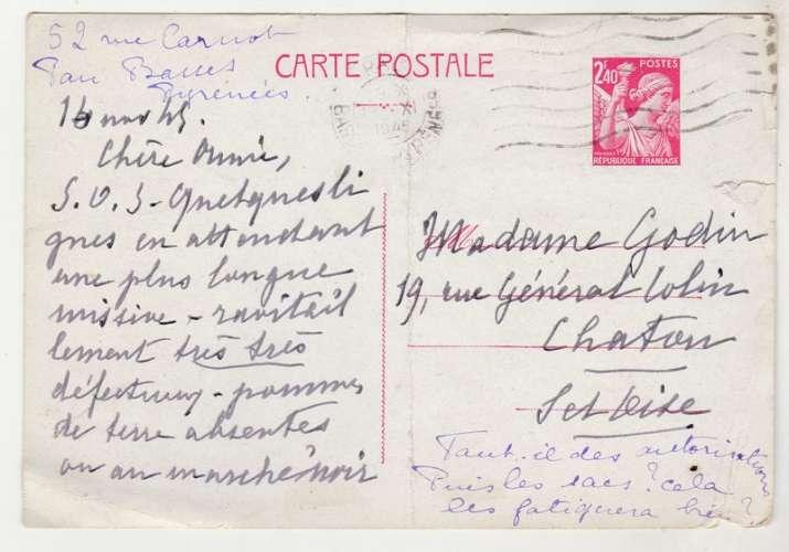 Entier postal  Iris 2.40 f ( sans complémént ) oblitéré  1945