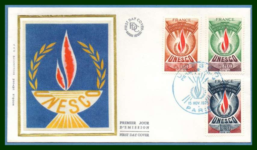 France FDC N° S 43 /5 UNESCO 1975 (cote XX)