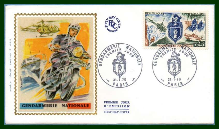 France FDC silk soie N° 1622 Gendarmerie Nationale 1970 Moto BMW Hélicoptère Marine Chasseur Alpin