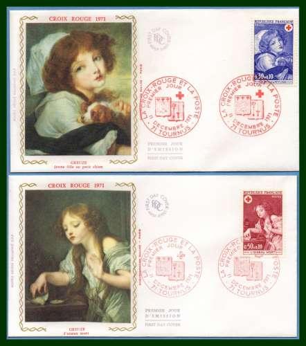 France FDC silk soie N° 1700 /1 Croix Rouge Tournus 1971 chien dog