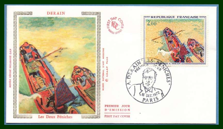 France FDC silk soie N° 1733 Derain 1972 peintre