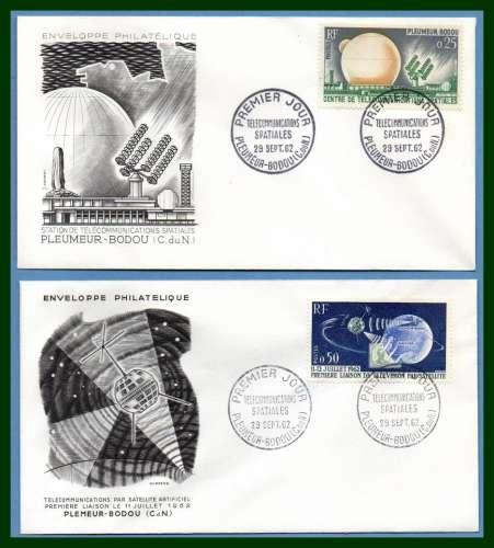France FDC  N° 1360 /1 Télécommunications spatiales Pleumeur Bodou 1962 espace space