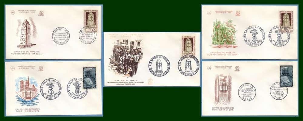 France FDC  N° 1380 /1 Hauts Lieux de la Résistance PJ + GF 1963 (cote XX)