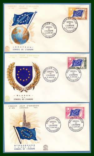 France FDC  N° S 27 /8 /30 complet conseil de l' Europe Strasbourg 1963 (cote XX)