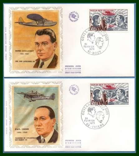 France FDC soie N° PA 48 (cote 70 €) Guillaumet Bouy + Codos Iviers 1973 aviateurs silk