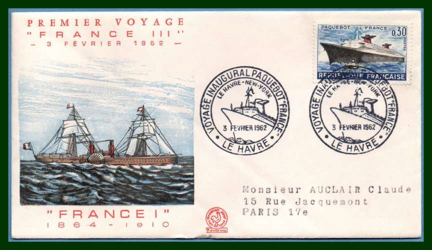 France FDC N° 1325 Voyage inaugural Paquebot France Le Havre > New York 1962 voy. (cote XX)