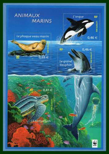 France BF 48 ** (MNH) Animaux marins dauphin tortue dolphin turtle