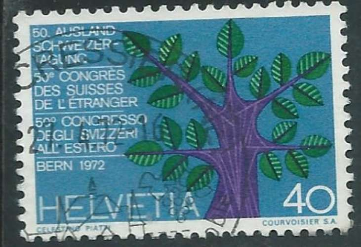 Suisse - Y&T 0898 (o) - Congrès des Suisses à l'étranger -