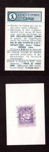 Tchécoslovaquie taxe 1954 Y&T 87 (o) sur 1 bon-timbre Cémoi ( chocolat )
