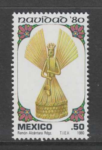 TIMBRE NEUF DU MEXIQUE - NOËL 1980 : ANGE MUSICIEN EN PAILLE N° Y&T 912