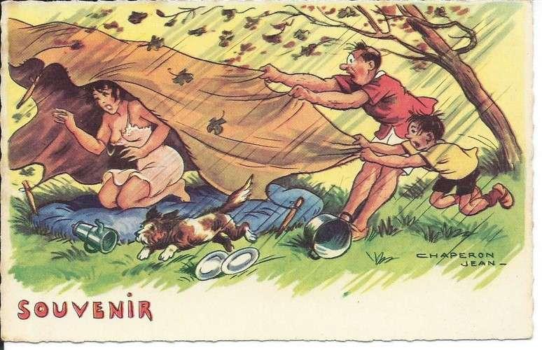 Chaperon - Camping - Tente - Pin-up - Souvenir - Série 1114