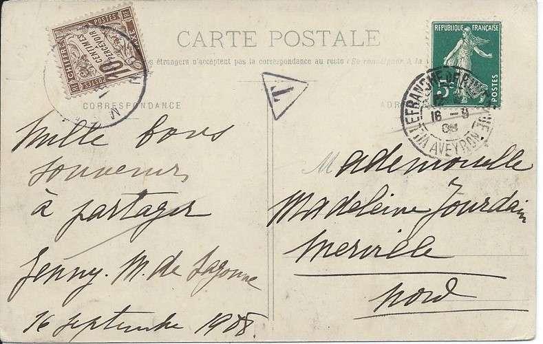 CPA - 12 - Najac - Vue générale - Timbre taxe Duval - Année 1908 - Dos scanné