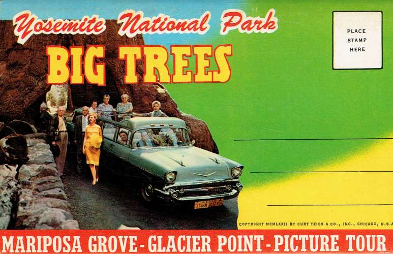 YOSEMITE National Park : Big Trees - Dépliant de 12 vues recto-verso (1962)