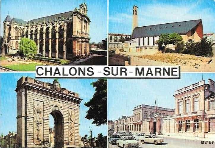 Cpsm 51 Chalons sur Marne , multivues - voitures renault  r8 dauphine , voyagée 1987