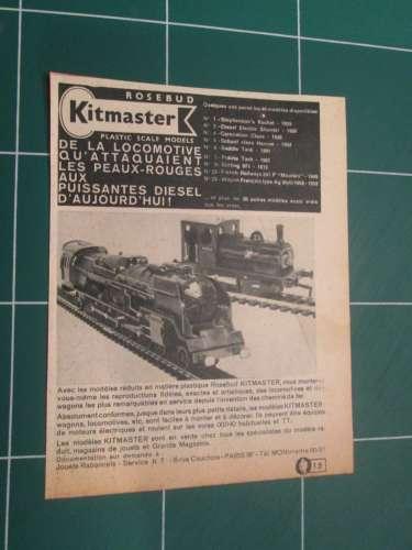 CLI1116 :  PUBLICITE TRAIN MINIATURE ROSEBUD KITMASTER  1/4 de page A4 de revue des années 60 ; cett