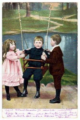 CP - Enfants avec balançoire (1301)_CP405