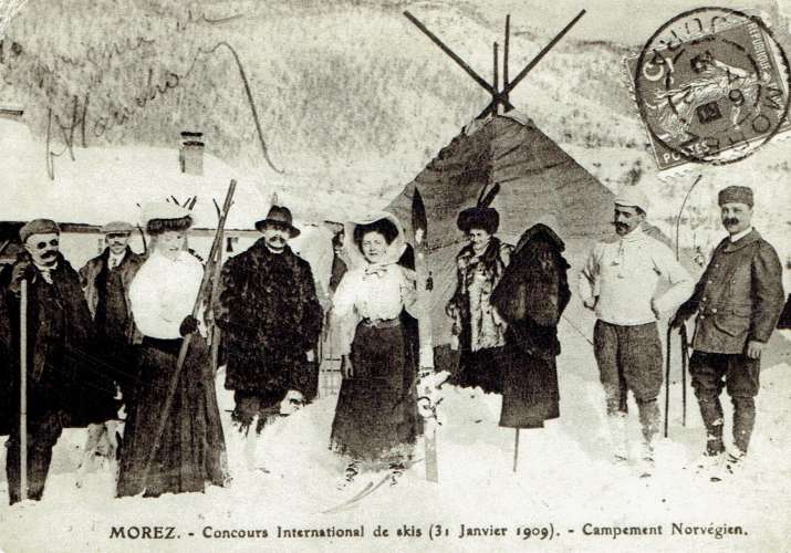 MOREZ autrefois (reproduction) : Concours de skis 31 Janvier 1909 - Campement Norvégien