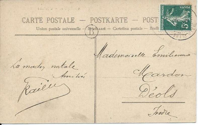 58 - Champvert - Ecluse - Cachet boîte rurale - Destination Déols - 1909 - Dos scanné