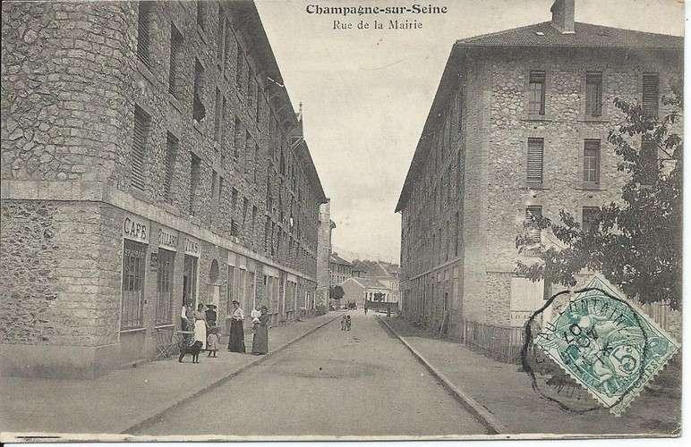 77 - Champagne-sur-Seine - Rue de la Mairie Convoyeur Montereau à Fontaine-le-Port 1907 - Dos scanné
