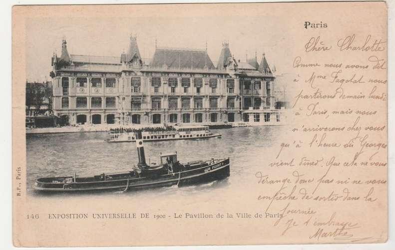 cpa Expo 1900 Le Pavillon de la Ville de Paris (remorqueur )